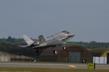 An F35 Lighting II takes off from RAF Lakenheath, 08 May 2017. USAFE photo.
