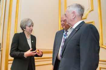 U.S. Secretary of Defense Mattis speaks with UK Prime Minister Theresa May at London's Somalia conference, 12 May 2017