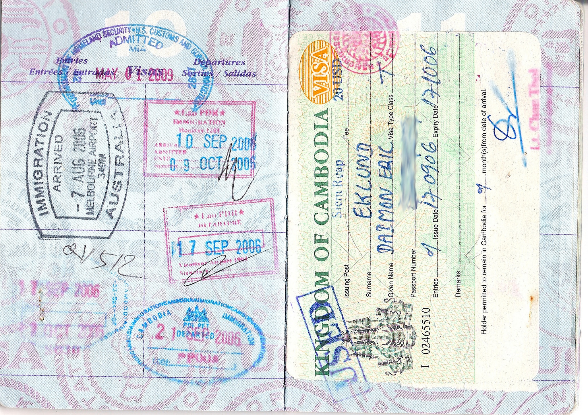 Visa Stamps In A Passport