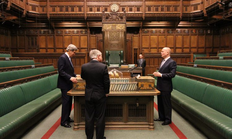 Secretary Kerry, William Hague and John Bercow standing in the House of Commons