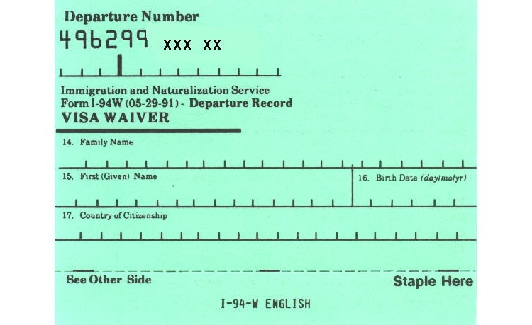 What is an I-94 or I-94W card?