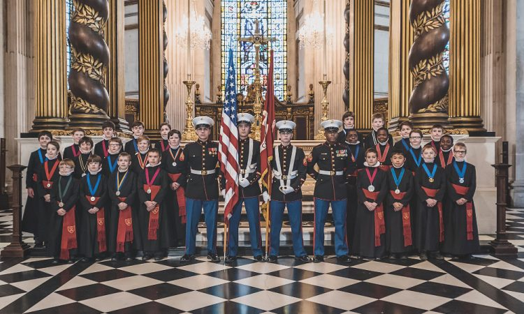 St Paul's cathedral choir and U.S. Marine Corps