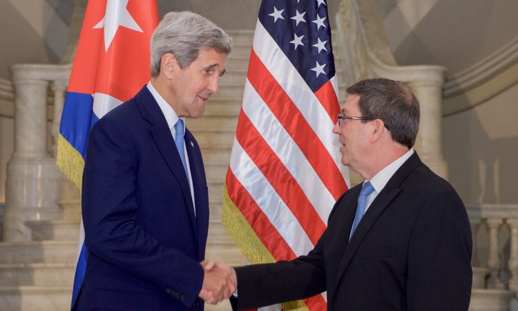 Secretary Kerry Shakes Hands With Cuban Foreign Minister Rodríguez