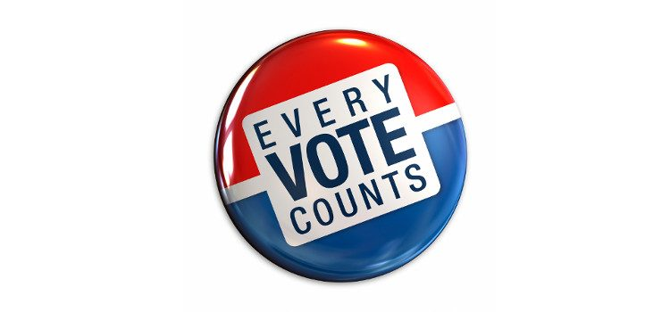 Badge showing text Every Vote Counts