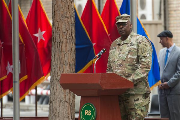 Army General Lloyd Austin standing at a podium