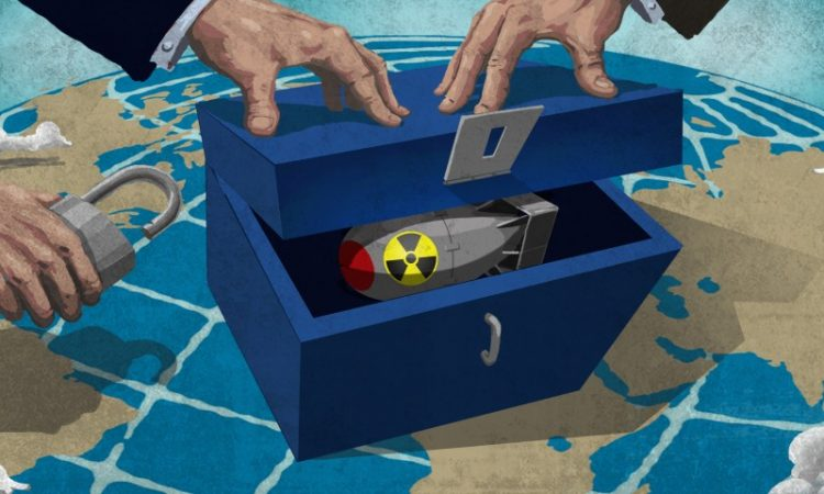 Illustration of nuclear weapon in box, sitting atop a globe, with hands about to padlock it (State Dept./D. Thompson)