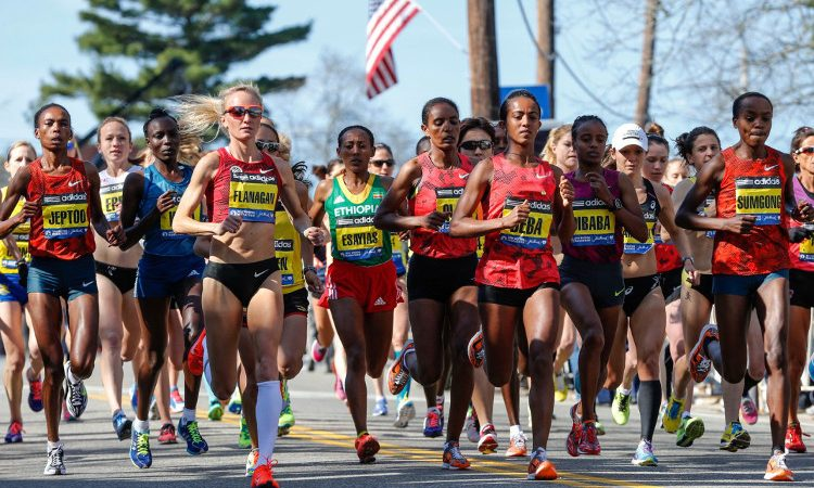 Elite female runners from around the world compete in the 2014 Boston Marathon. (AP Images)