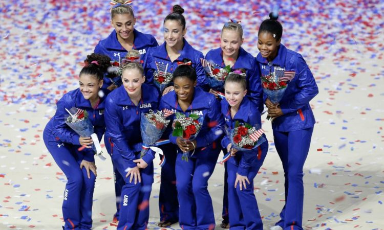 U.S. Olympic women's gymnastics team members, clockwise from top left: Ashton Locklear, Aly Raisman, Madison Kocian, Gabby Douglas, Ragan Smith, Simone Biles, MyKayla Skinner and Laurie Hernandez (AP Images)