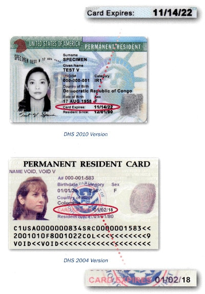 Samples Of Expired Permanent Resident Cards Prc Or Form I 551