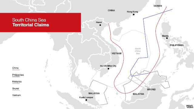 Map Of South China Sea Territorial Claims Courtesy VO News - Us embassy manila map
