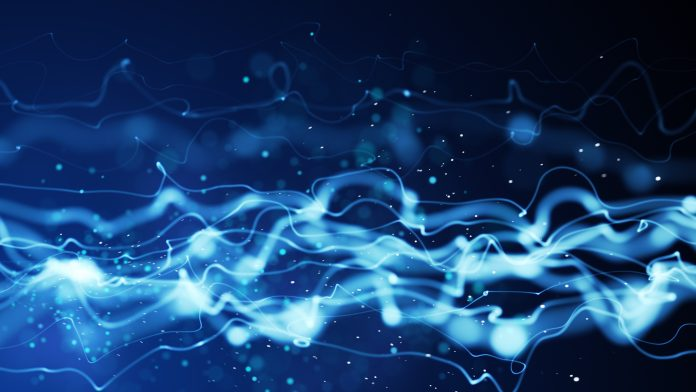 Blue, wavy lines denoting energy