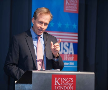 Mr Lewis Lukens , Deputy Chief of Mission, U.S. Embassy London, delivers opening remarks at USA Week, KCL, The Strand Campus.
