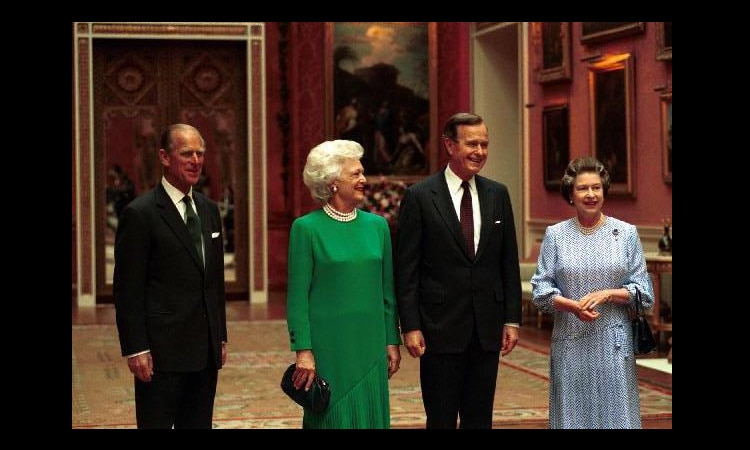 President George H. W. Bush and Barbara Bush meet HM Queen Elizabeth, March 1991