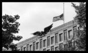 Flag at half-staff at US Embassy London